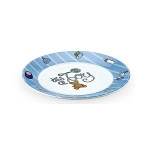 синя детска чиния меламин