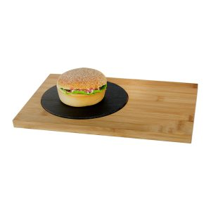 бамбукова дъска с каменна плоча за бургери